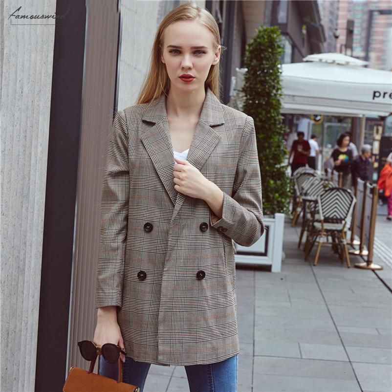 2019 Women Blazers New V Neck Classic Houndstooth Casual Notched Double Breasted Long Blazer Jacket Office Lady Coats