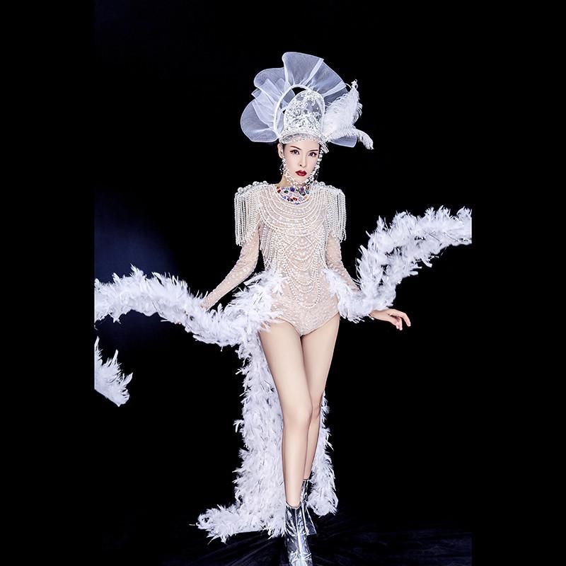 Y94 Cantor branco pérola trailing jumpsuit stage trajes de dança diamantes bodysuit dj strass outfit vestido de penas mulheres vestir festa usa