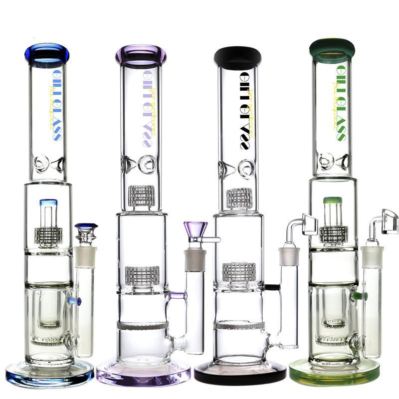 Épais Bong Dab Rig Matrice Perc nid d'abeille pipe à eau en verre Bongs Pipes plates-formes pétrolières cendres capiteux barboteur receveur cire quartz bol Banger violet