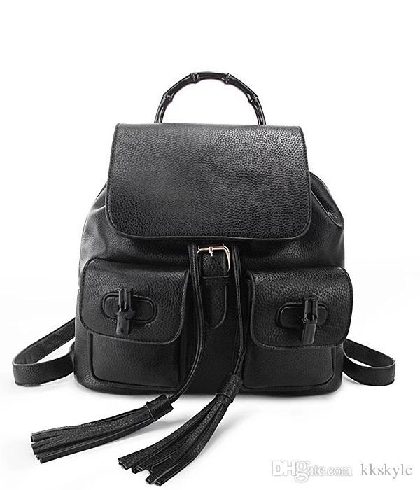 Высокое качество сумка для ноутбука Мода Рюкзак Totes Женщины Маленькие сумки с кисточками Мягкая искусственная кожа Streeet Girl's Черный бамбук уличные школьные сумки