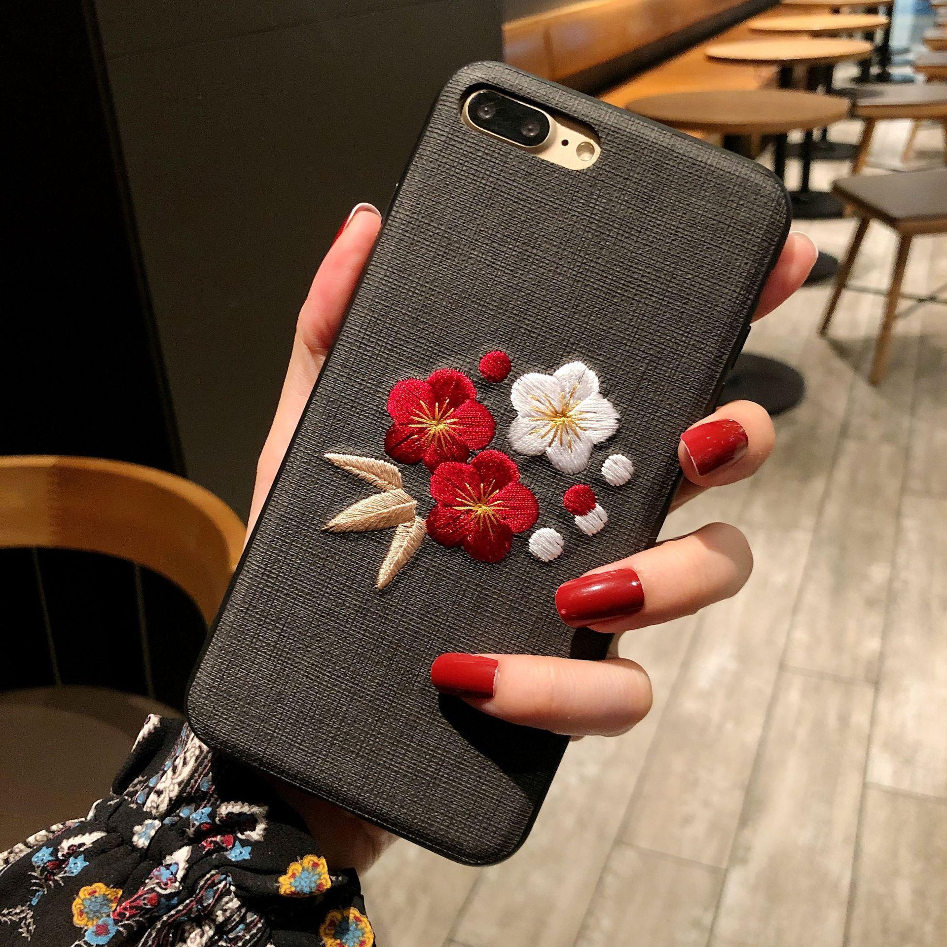 Трехмерная вышивка подходит для iphone7plus чехол для мобильного телефона Apple XSmax защитная крышка 8 цветок мягкая крышка анти-падение XR