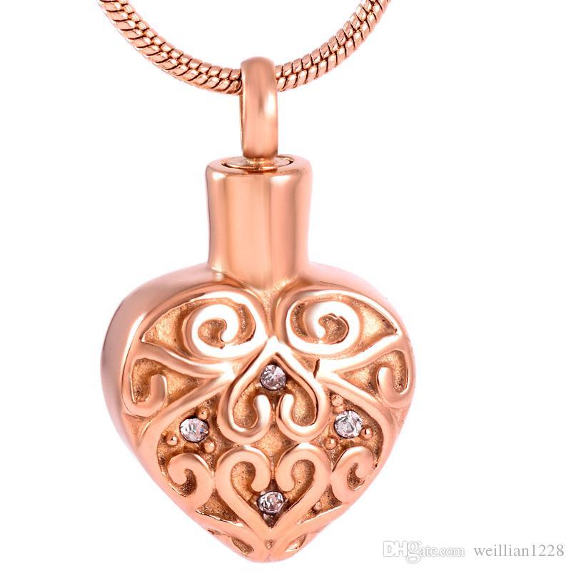 Z207rose Gold Inlay Kristallherz Edelstahl Einäscherung Urn Schmuck für Menschenasche Memorial Andenken Halsketten-Anhänger