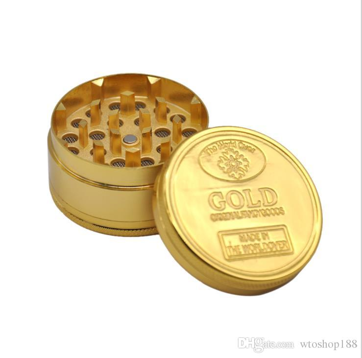 Liga de ouro-zinco moedor de fumaça diâmetro 50 mm Tuhao ouro Smoke Grinder 3-Layer Metal Smoke Grinder