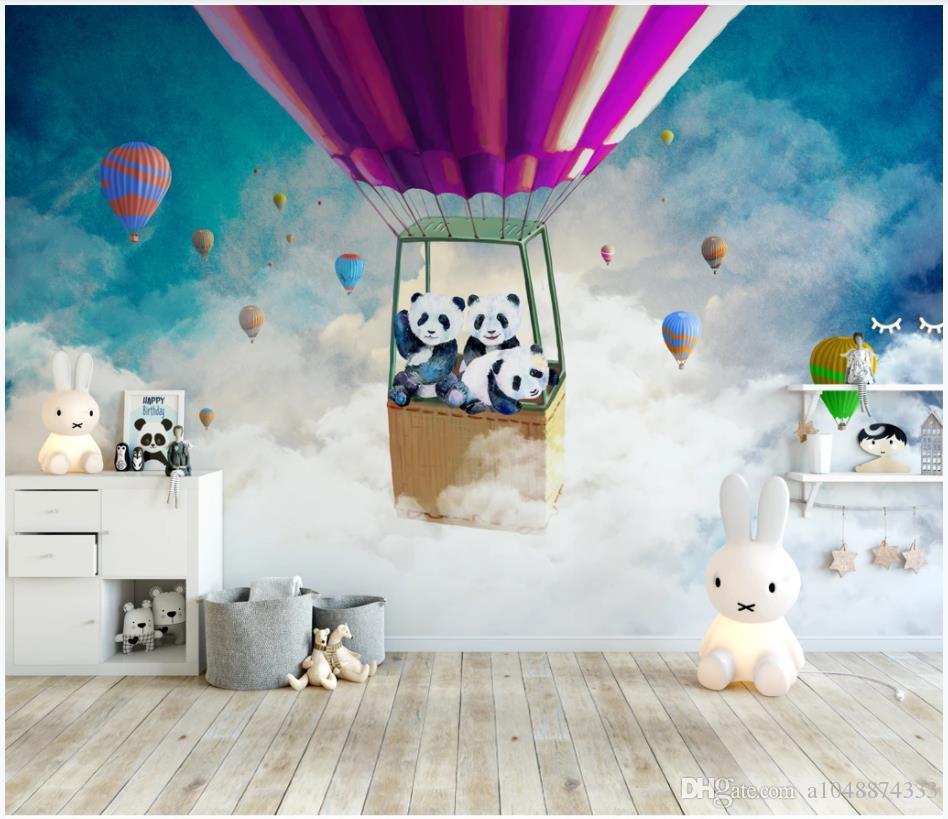 Özel fotoğraf kağıdı Cartoon duvar resimleri sıcak hava balonu panda gökyüzü çocuk odası arka plan duvar kağıdı duvar 3d duvar resimleri duvar kağıtları