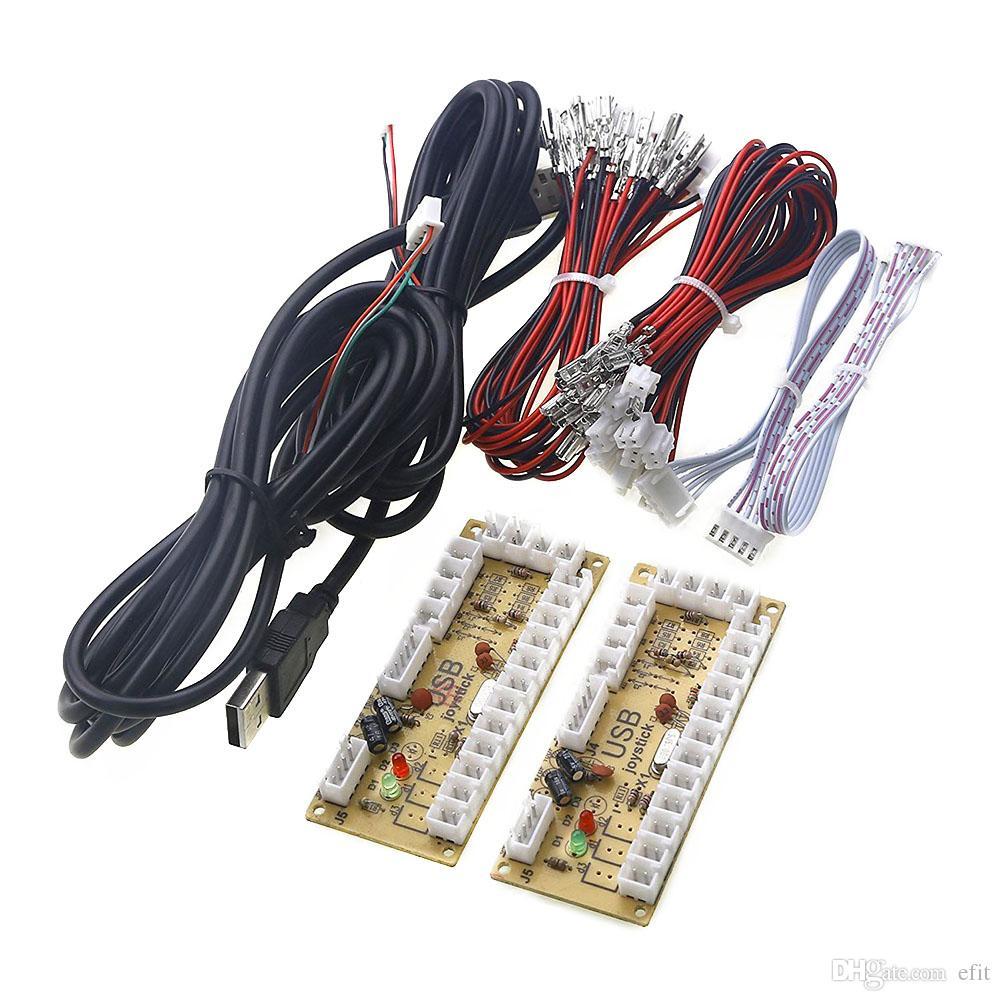 الوضع التناظري لعبة Arcade Rocker LED المؤشر الرقمي صفر تأخير عصا التحكم USB Encoder Circuit Board Set Easy Install Professional