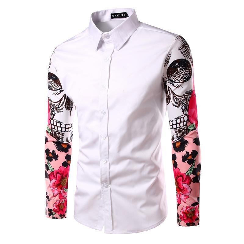 Fashion-Masculina Slim Fashion Men Shirt 2017 New Brand Casual Arm sleeve skull print Chemise Homme Plaid shirt