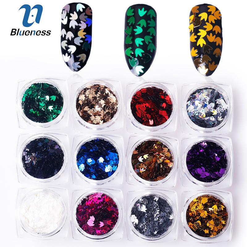 wholesale 12Box 3D Maple Leaf Sequins Nail Glitter Magic Mirror Nail Flakes Sequins Set Nails Art Decorations DIY Tips Manicure