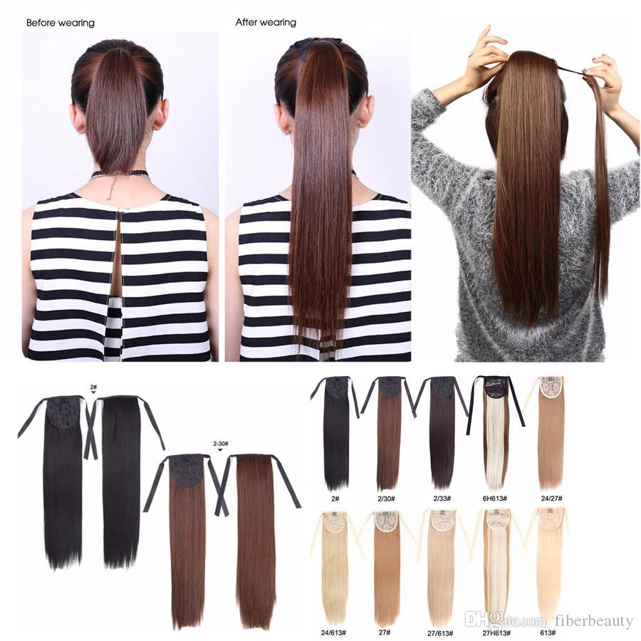 Alileader Синтетические клипы в волосах хвостики шиньоны 18 дюймов Afro хвостик Удлинитель для коротких волос Укладка волос Straight