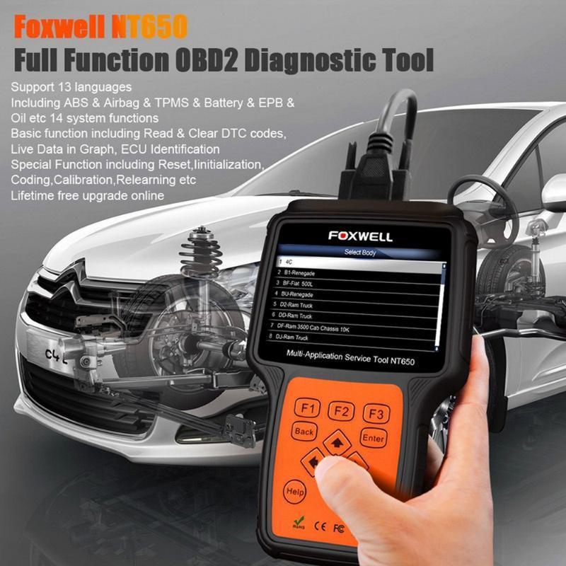 أداة تشخيص NT650 OBD2 السيارات سكانر المهنية السيارات ABS SAS EPB الخدمات النفطية أداة تشخيص السيارات OBD2 ماسح السيارات
