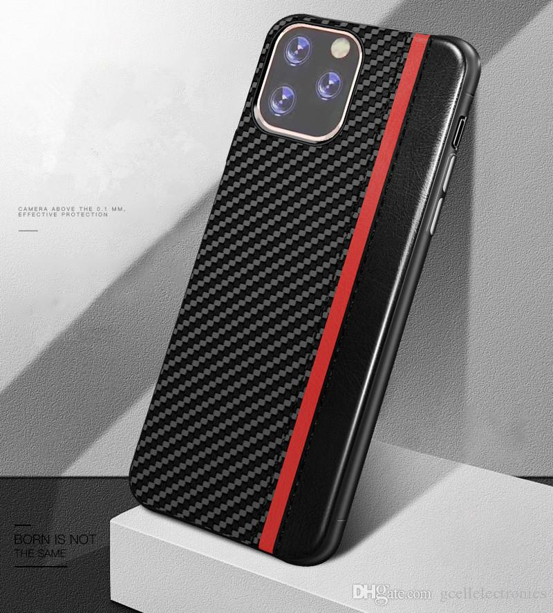 Luxury PU Leather Cell Phone Cases For Iphone 11 Pro XS Max Huawei P30 Pro Samsung Galaxy S10 Plus Carbon Fiber Design Case