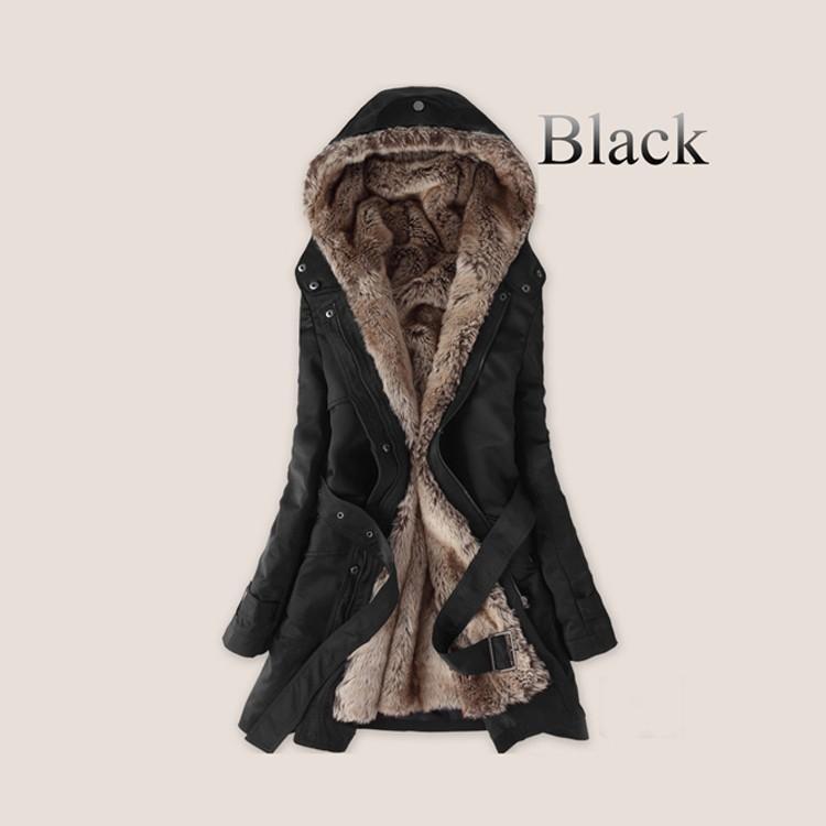 Épais Faux doublure en fourrure hoodies de la fourrure des femmes hiver chaud longtemps à l'intérieur des vêtements de coton veste manteau de parkas thermique