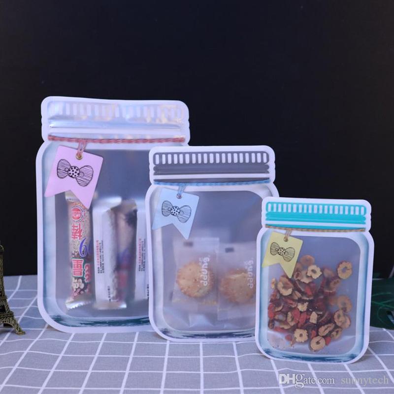 New Style Mason Jar Shaped Nahrungsmittelbehälter Plastiktasche Klar Mason Flasche Modelling Zippers Lagerung Snacks Plastikbox LX2823