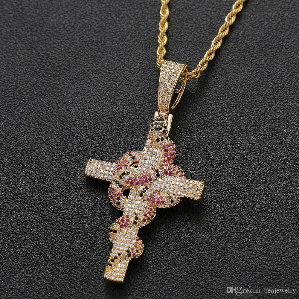 مثلج من الأفعى الصليب قلادة قلادة مع سلسلة الذهب والفضة بلينغ زركونيا الهيب هوب مجوهرات روك