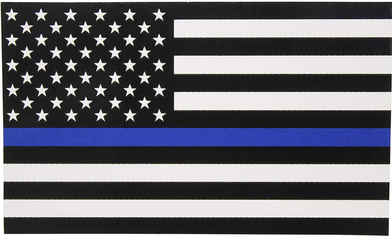 얇은 파란색 라인 플래그 데칼 - 2.5 * 4.5 in. 자동차 및 트럭을위한 검은 흰색과 파란색 미국 국기 스티커