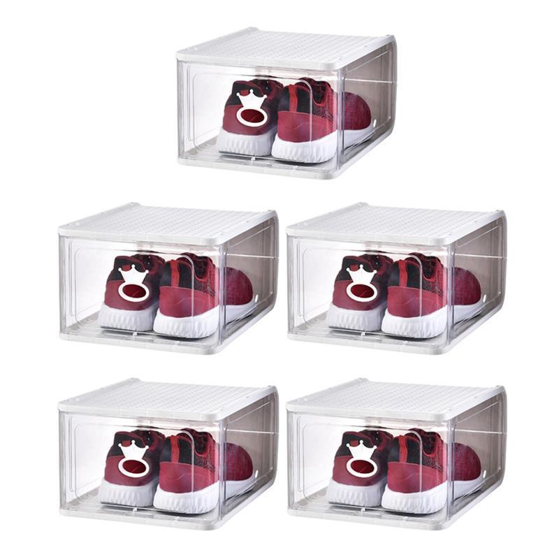 4 / 5PCS prueba de polvo cajas de zapatos transparentes espesan los zapatos apilable de plástico de almacenamiento de la caja desmontable Organizador