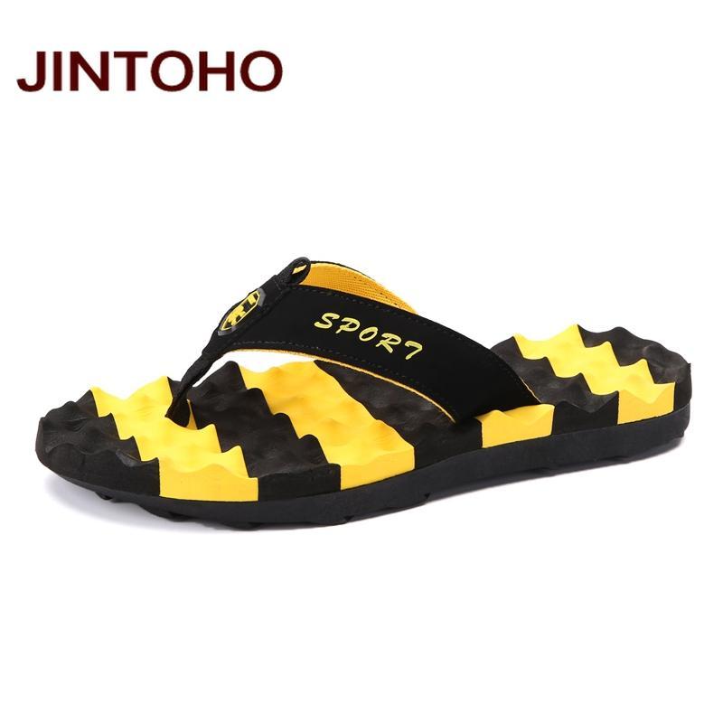 JINTOHO Big Size Summer Chaussons Flip Flop Chaussures Mode Hommes Sandales Marque Homme Massage Chaussons Chaussures de plage glissière eau