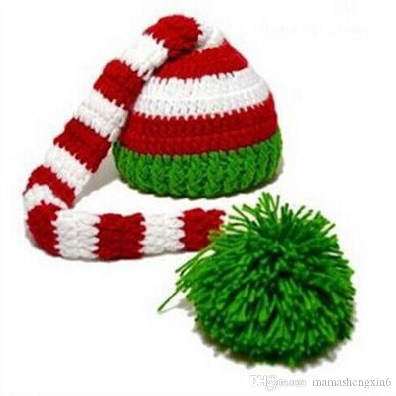 جديد للجنسين الأطفال بيني طويل الذيل متماسكة القبعات عيد الطفل أطفال الشتاء الدافئة كاب طويل الذيل الكرة قبعات التصوير الدعائم القبعات