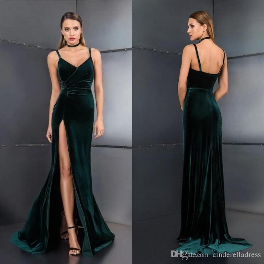 Modern Velvet Green Prom Dresses 2020 Sexy Split Slit Long Backless Evening Gowns Custom Made Bridesmaid Dress BC3608