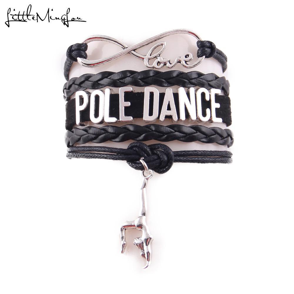 Charm Bracelets Little MingLou Infinity love Pole DANCE bracelet GYM charm leather Rope handmade DANCER bracelets & bangles for women men