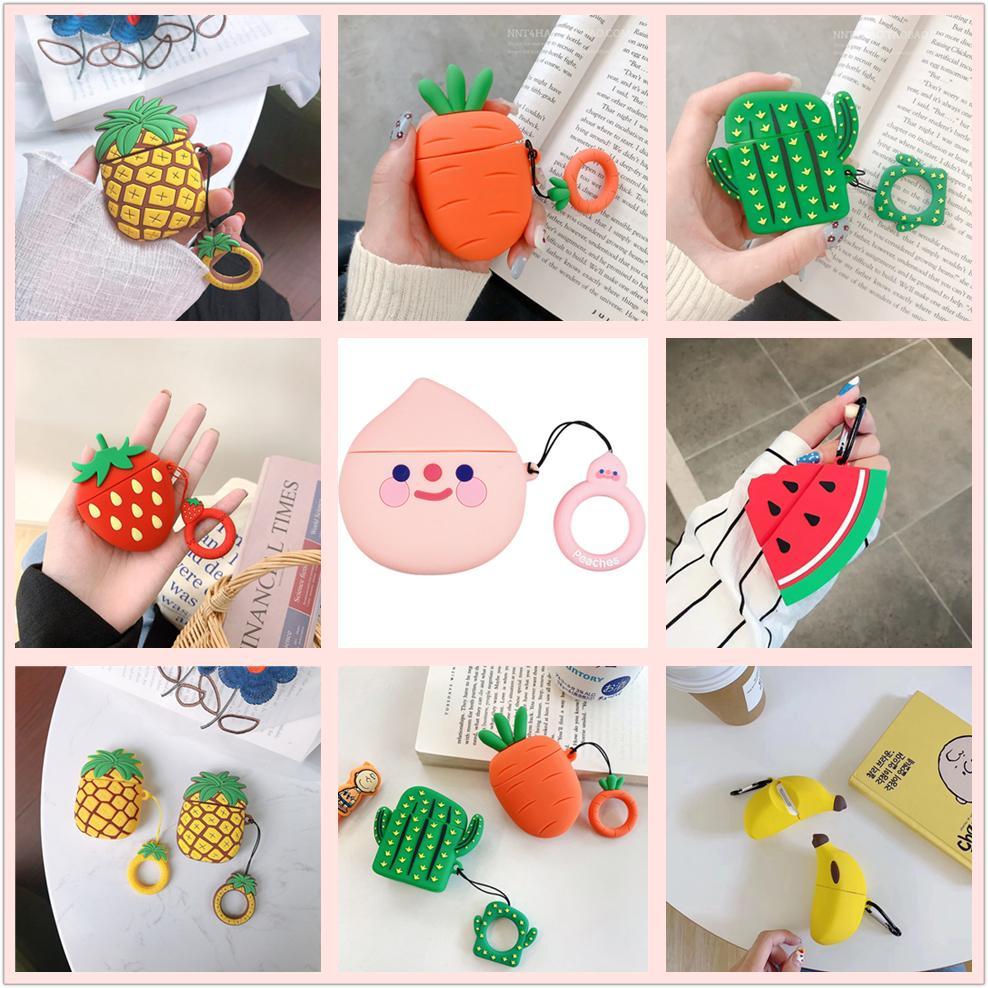귀여운 과일 도매 3D 만화 디자인 실리콘 케이스 Apple Airpods 보호 케이스 무선 블루투스 이어폰 충전 상자 커버