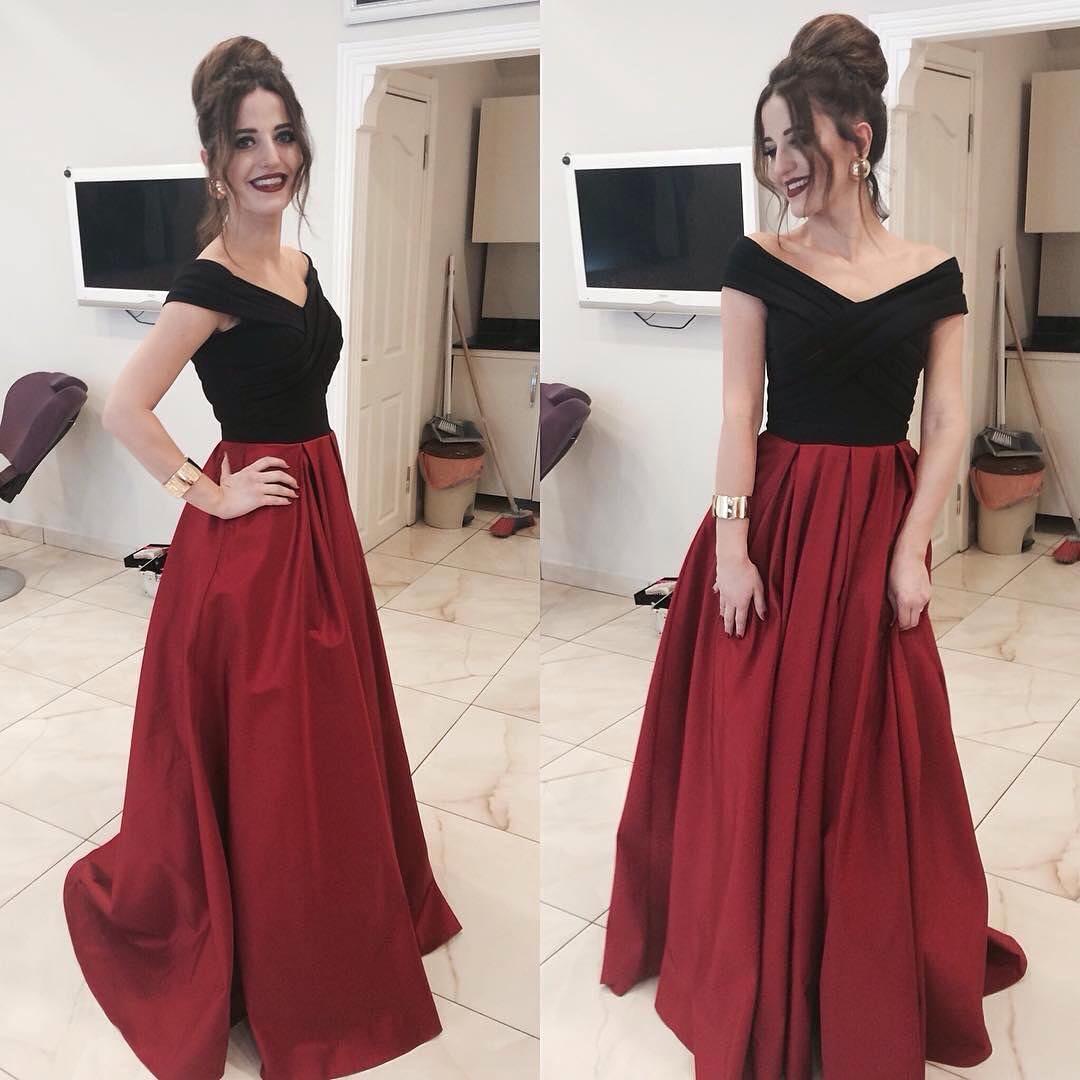 Nero e Borgogna Prom Dresses 2019 Off The Shoulder Abito da sera Una linea Abendkleider Abiti da cerimonia speciali formali Abito da ballo