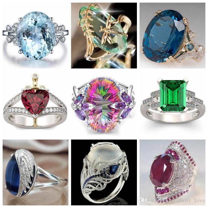 20pcs / Lot monili di pietra naturali di modo mixed SilverGold placcato CZ marca lusso promessa anello di fidanzamento matrimonio nuziale vintage per donna