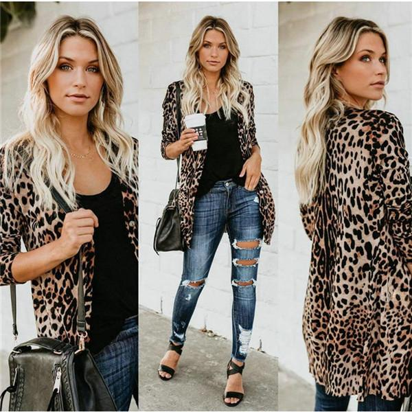 V-neck Mulheres Sexy Leopard Coats Moda longo botões Imprimir Vestuário Jacket Primavera Outono casacos de marca