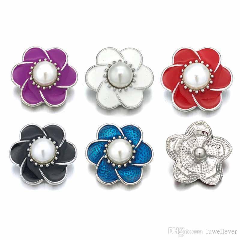Commercio all'ingrosso w425 Fiore 3D 18mm 25mm 30mm Bottone a pressione in metallo per il braccialetto Collana gioielli intercambiabili Accessorie per le donne