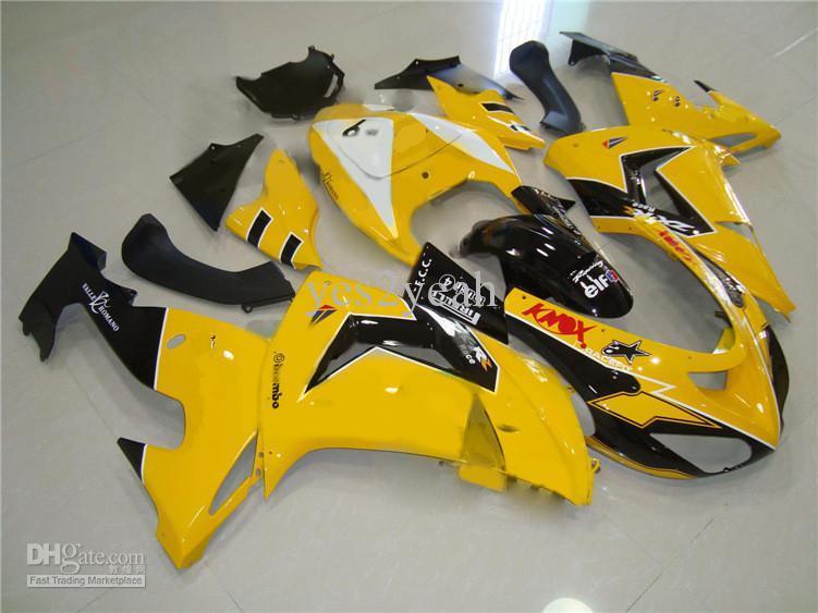Kit de carenado para KAWASAKI Ninja ZX10R 06 07 ZX 10R 2006 2007 ZX-10R ABS amarillo negro Carenados set + regalos KX14