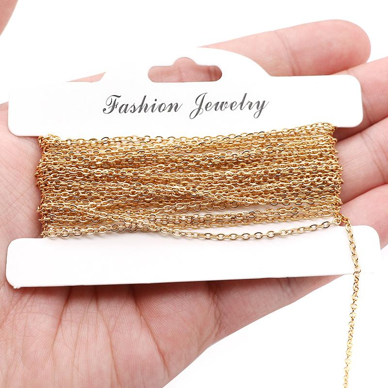 Prata / Corrente de aço Gold / Rose Gold inoxidável para fazer jóias de 1 / 1,5 / 2 / 2,5 milímetros de Metal O Chain Link por metro 10m Atacado