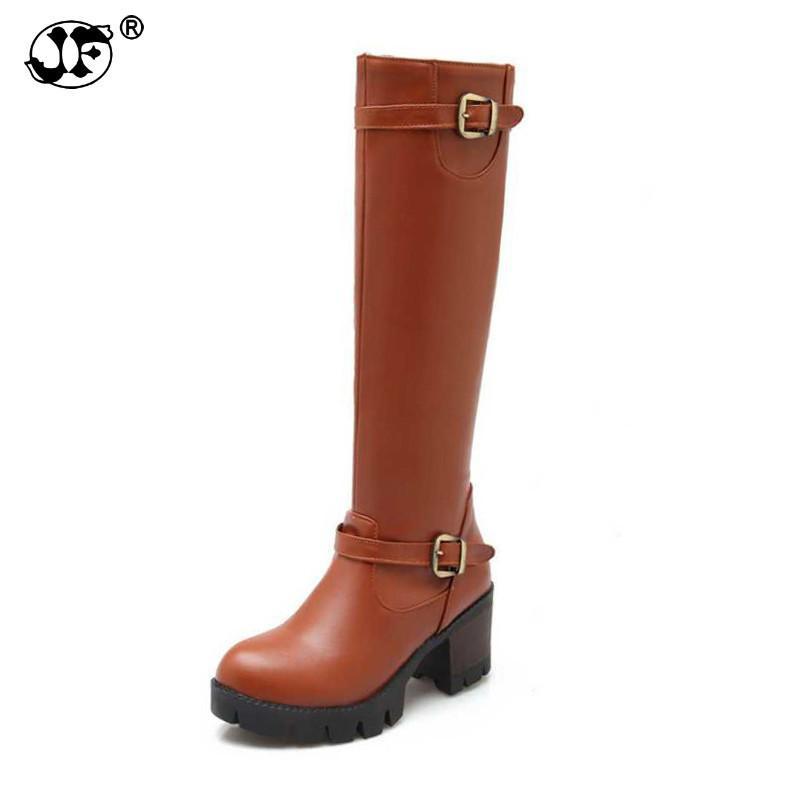 높은 품질 가을 겨울 여자 무릎 높은 부츠 버클 플랫폼 여성 신발 큰 크기 34-43 사이드 지퍼 부츠 yuj90