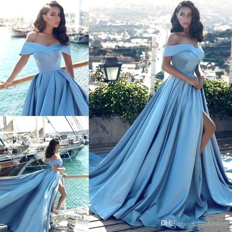 baby blue off shoulders evening dresses sexy high slits summer holiday satin formal prom pageant gowns Arabic fitted dresses evening wear
