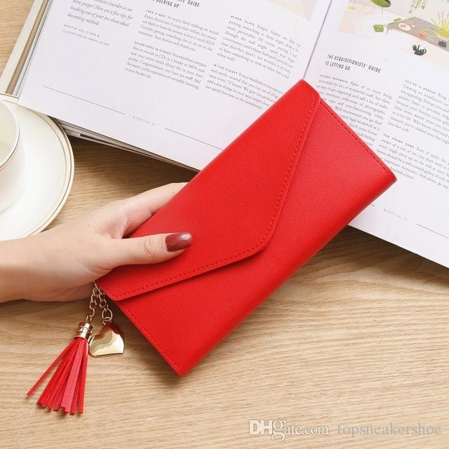 Women Wallets and Purses Fashion Large Capacity Ladies Purse Cow Leather Luxury Wallet Cheap Red Heart Shaped Handbags Best Young Girls