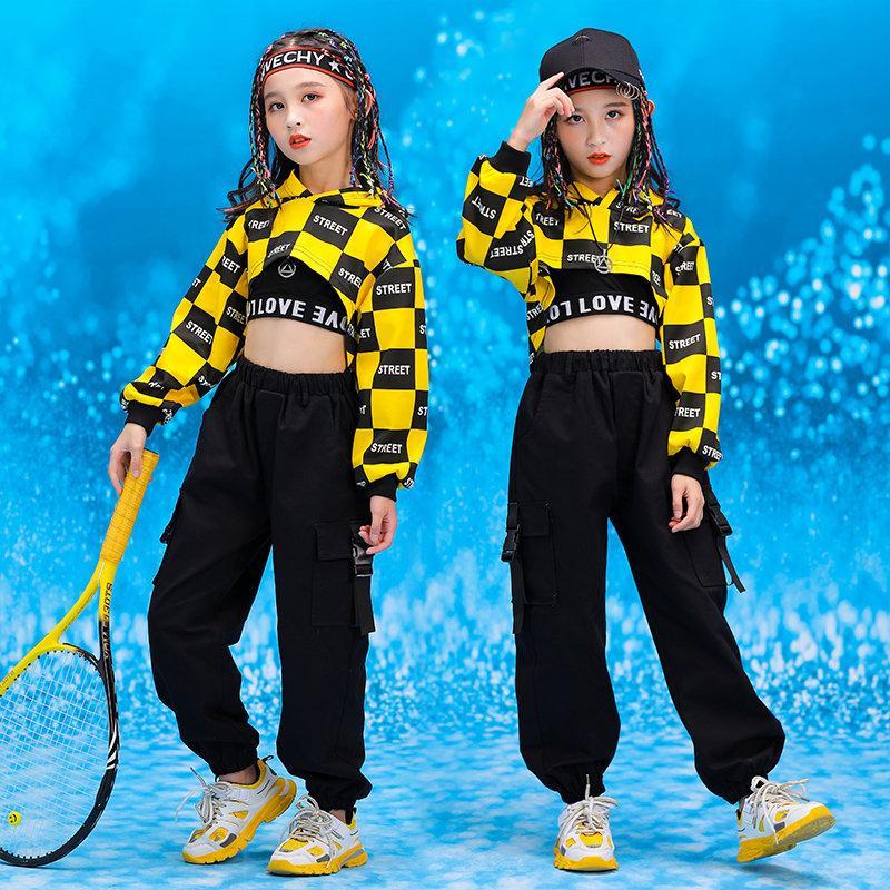Kız Çocuk Dans Kostüm Balo Dans Giyim Casual Pantolon Koşu Çocuk Hip Hop Giyim Kapşonlu Sweatshirt En Mahsul