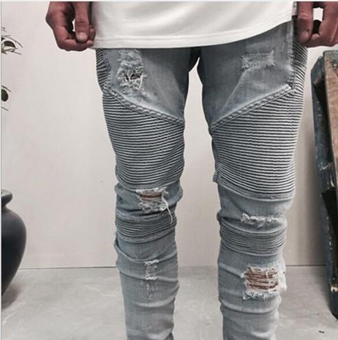 Mens Marca plissé Jeans slim fit pantaloni lunghi del denim dei pantaloni della matita Fori strappato Hip Hop Jeans
