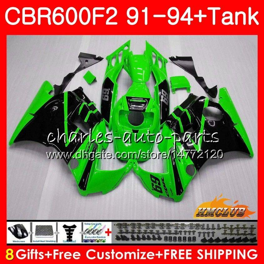 Kit para HONDA CBR 600F2 CBR600FS 600cc CBR600 F2 91 92 93 94 40HC.218 CBR 600 FS F2 CBR600F2 1991 1992 1993 1994 Carenado verde brillante Tank +