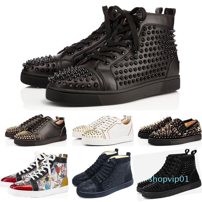 2019 дизайнерская обувь шипованные Шипы обувь на плоской подошве красные подошвы обувь для мужчин и женщин любителей вечеринок натуральная кожа кроссовки размер 36-46