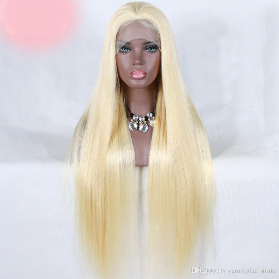 레이스 앞 인간의 머리 가발 613 금발 브라질 스트레이트 레이스 가발 미리 뽑아 613 인간의 머리 가발 자연의 헤어 라인 레미