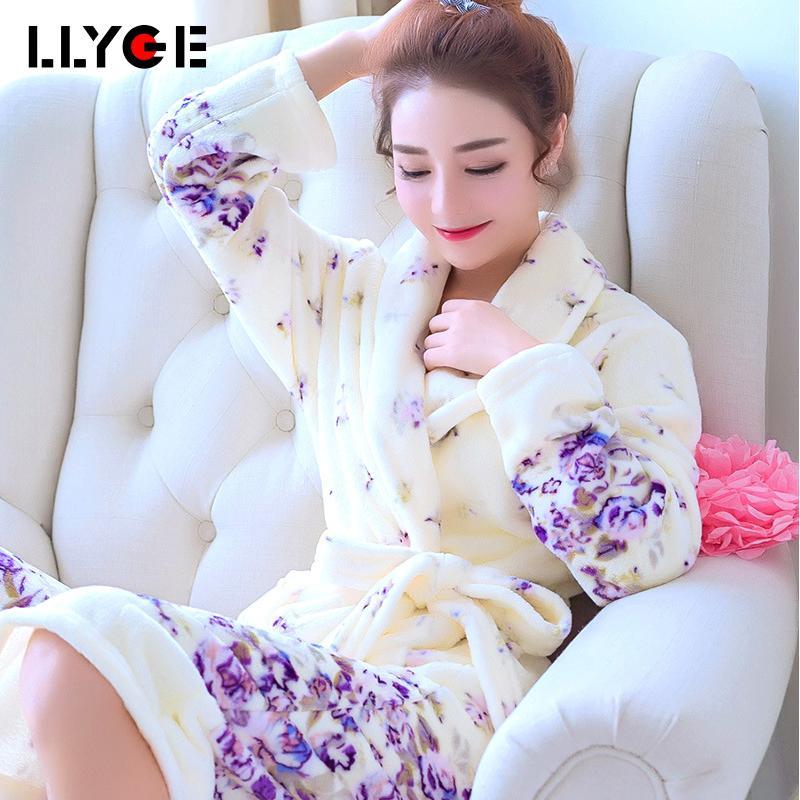 Winter Flannel Kimono Women's Bathrobe Coral Velvet Floral Sashes Dressing Gowns For Women 2019 Autumn Warm Ladies Home Clothes Y200107