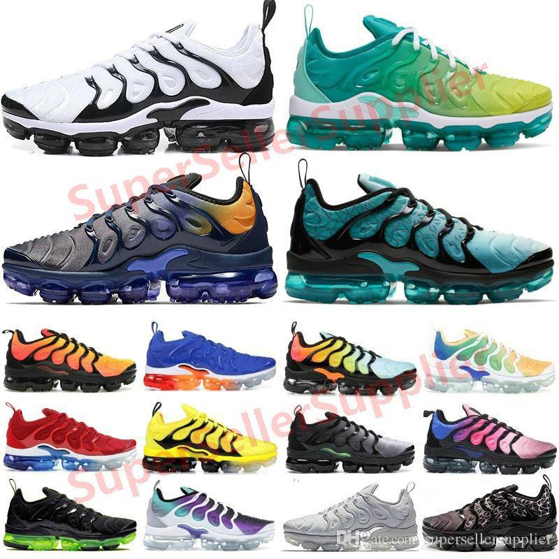 Nike Vapormax Tn Air max Tn plus Erkek Kadın Geometrik Aktif Fuşya Siyah Beyaz Limon Kireç ABD Oyunu Kraliyet Kurt Gri Eğitmenler Spor Spor ayakkabılar 36-47