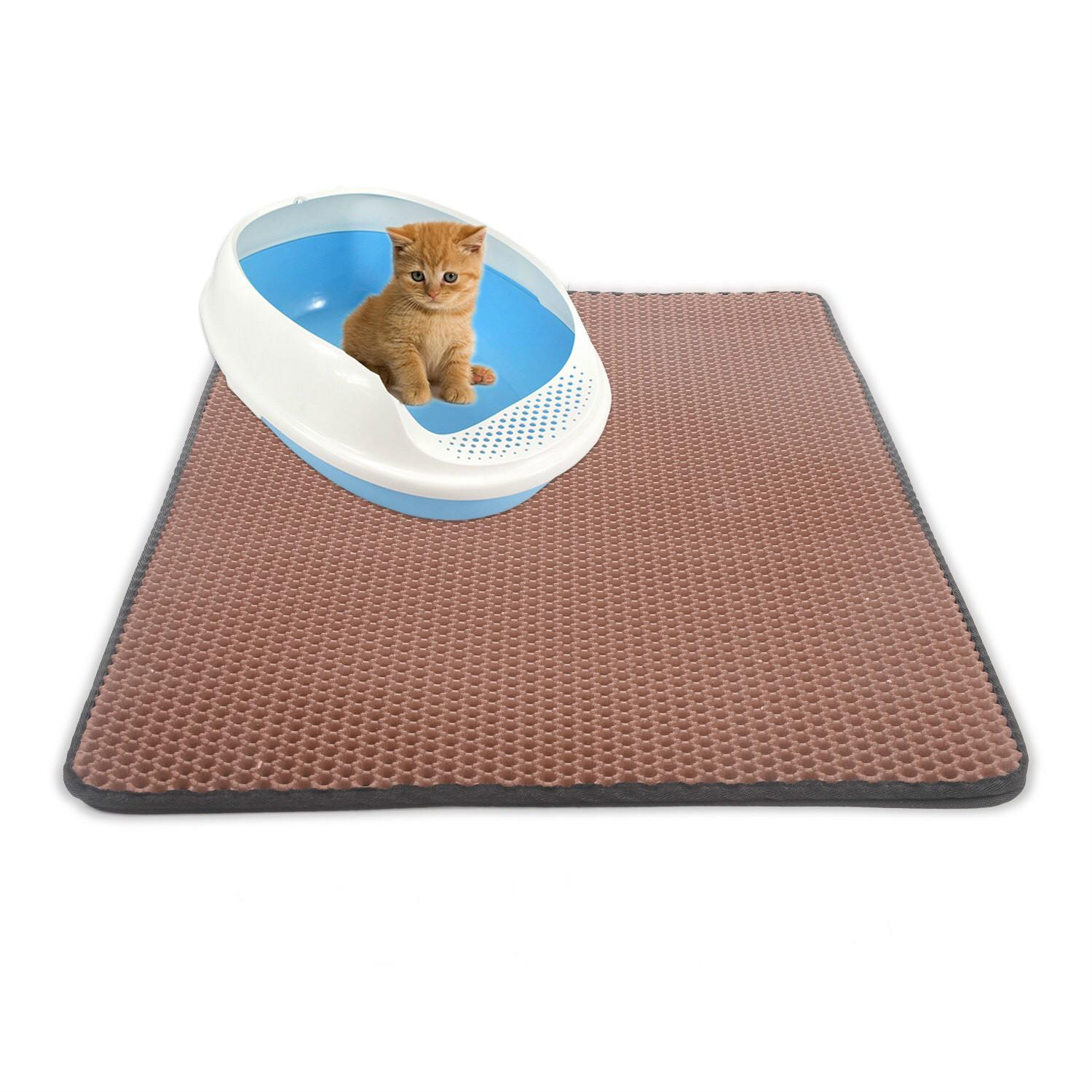 Pet lettiera Mat EVA Double-Layer Lettiera Trapper Mats con strato inferiore impermeabile antiscivolo pet lettiera del gatto nero mat Bed
