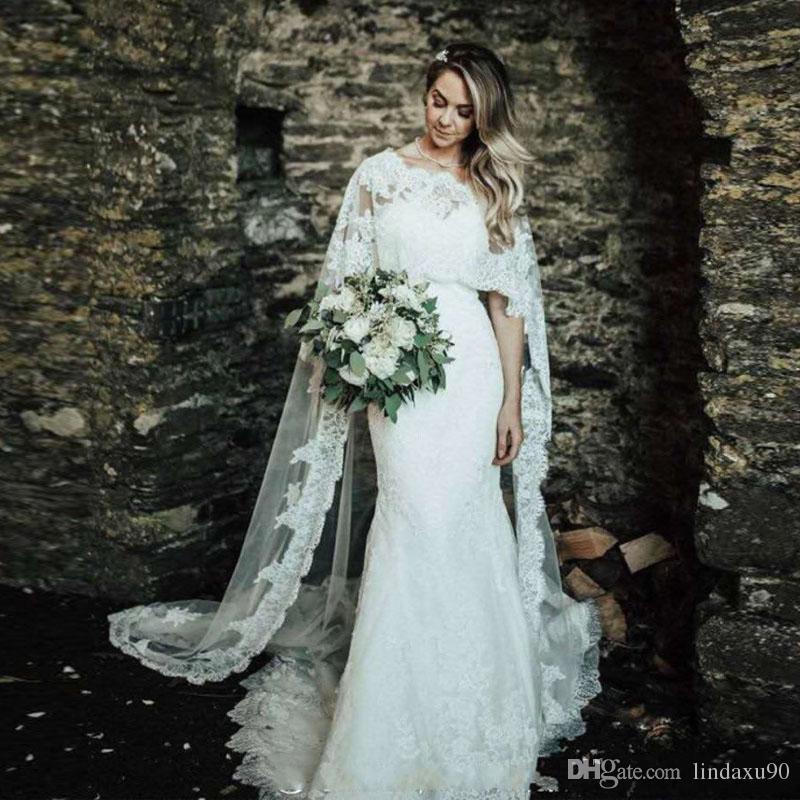 Vestidos de casamento da praia da sereia do vintage com o rendas laço do suportes do cabo do cabo appliques do casamento vestido de noiva longo do país com xaile