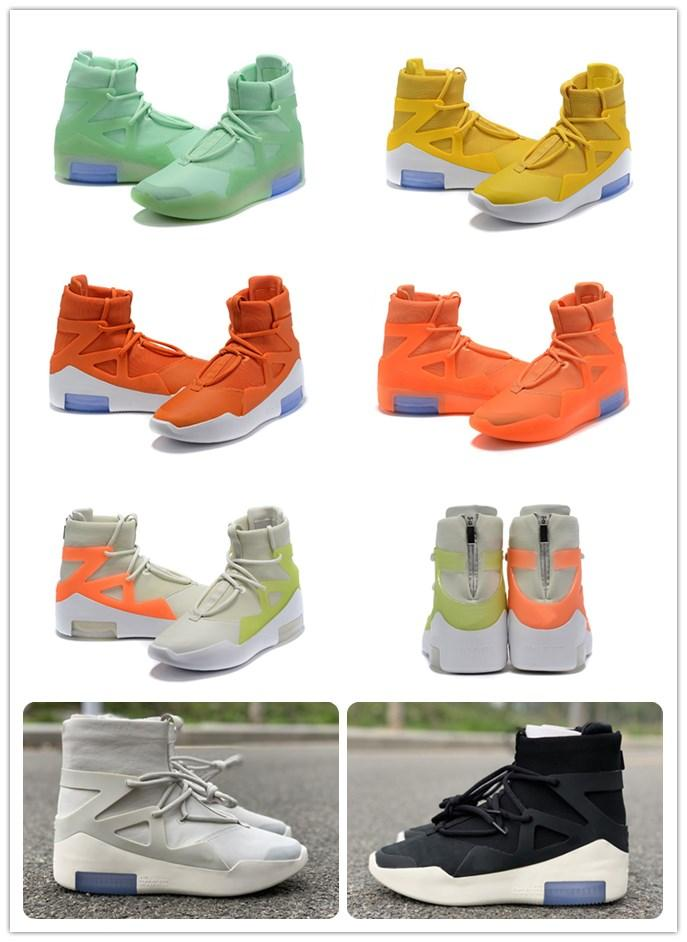 Air Fear of God 1 Boots Fashion Designer Shoes FOG 1 Outdoor Athletics Yellow Orange Black Grey Zoom Sneakers Size 5-12 free shippment