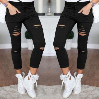 Mulheres tamanho grande rasgou calças stretch lápis calças leggings frete grátis alta qulity