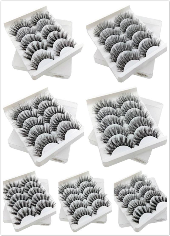 Wholesale Natural Long 3D Lashes 5 Pairs a set Handmade False Eyelashes CrissCross Fake Eyelash 5pairs Cosmetics Makeup Eyelashes Extension