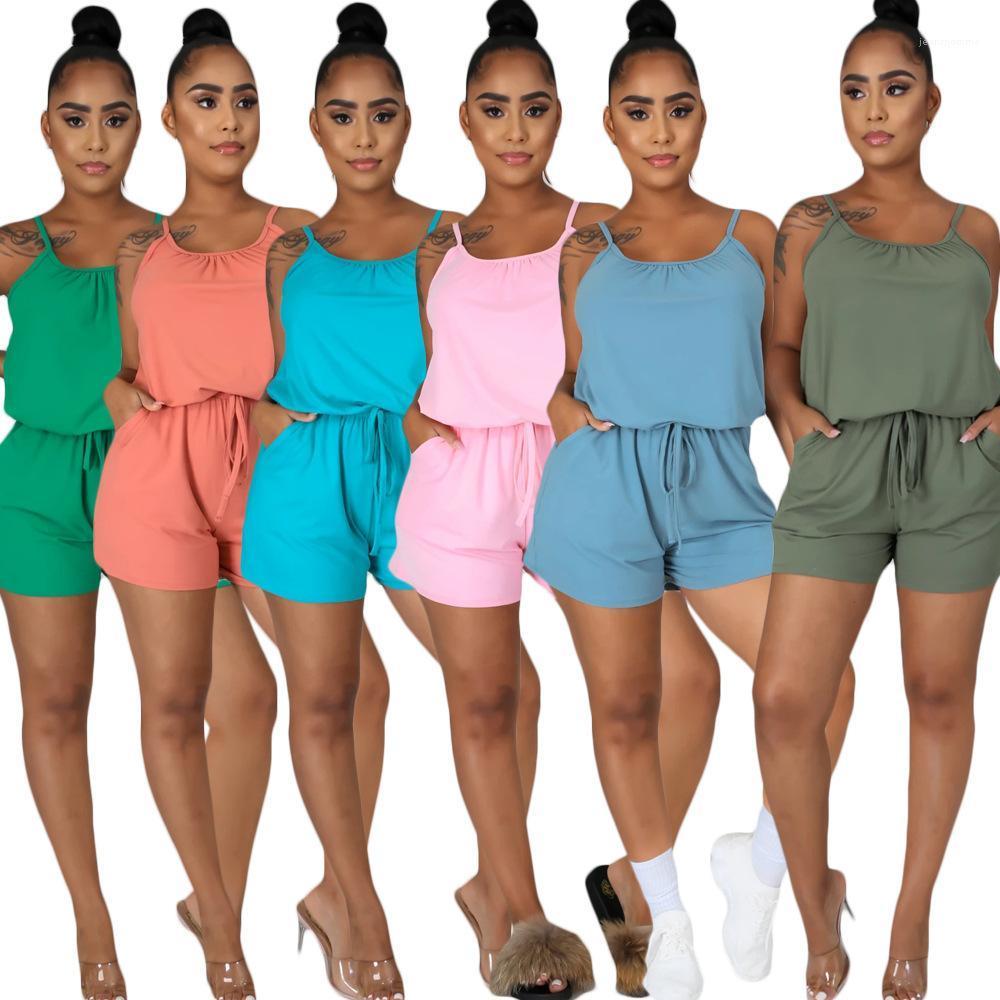 Kadınlar Mürettebat Boyun Katı Renk Kadın Giysileri Bayan Tasarımcı Tulumlar Kaşkorse Şort Gevşek Casual tulum Tops