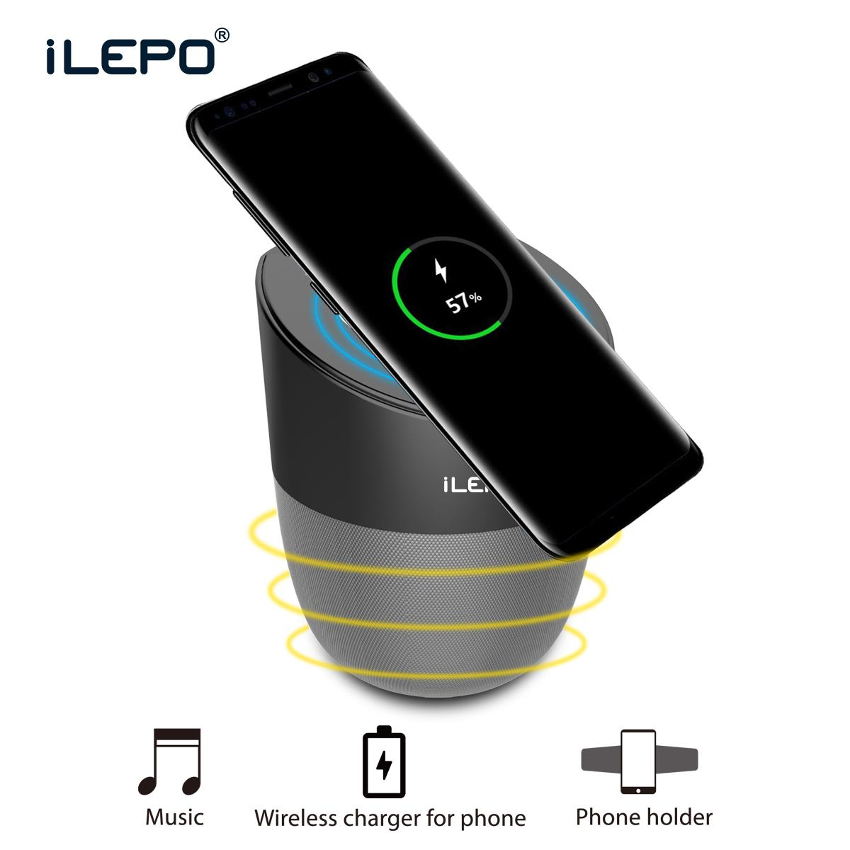 Wireless charger bluetooth speaker for Mobile phone Portable Small Speakers 2500mAh Support USB Audio Player phone holder