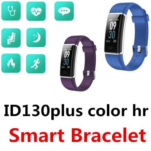 ID130 Plus Color HR Smart Bracelet Bluetooth Waterproof TFT LCD screen Multi sport mode Heart rate monitoring sleep Single touch 50 Packs
