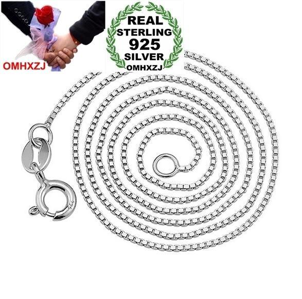 OMHXZJ mayorista bromista de la manera Mujer 16 18 1.1 pulgadas 0.8 mm Cadenas Caja Platino 925 collares cortos regalo NK08