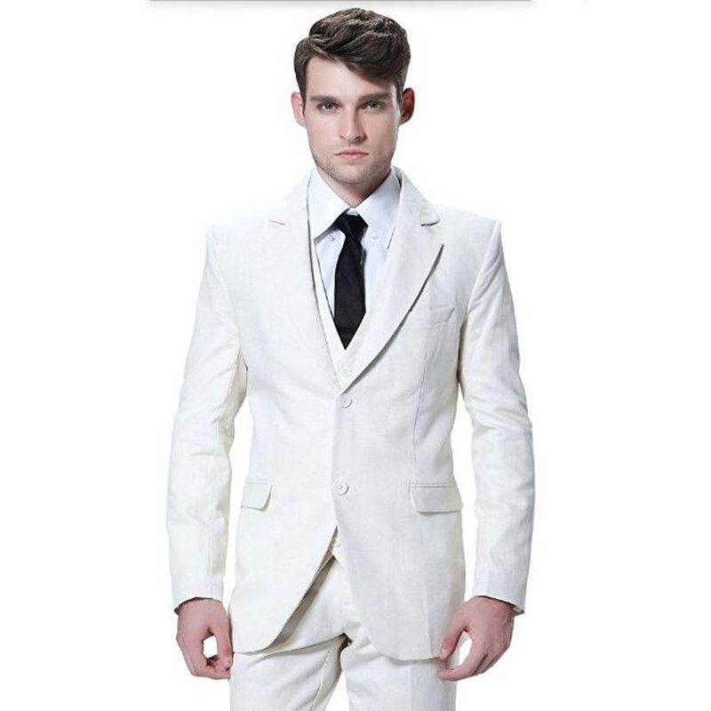 Tailor made mens suits white men wedding tuxedos suit fashion handsome groom best man prom dress suits (jacket+vest+pants) YM